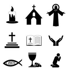 christian faith icons vector image