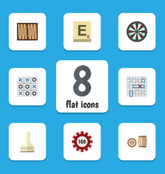 flat icon play set of pawn poker sea fight and vector image