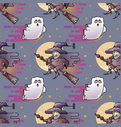 ghost and witch seamless pattern vector image vector image