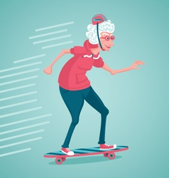 Old woman is skating vector image vector image