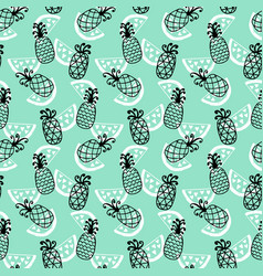 pineapples seamless pattern on mint background vector image vector image