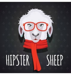 Sheep hipster dressed in red scarf vector image vector image