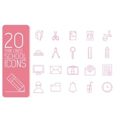 thin line office set icons school concept d vector image vector image