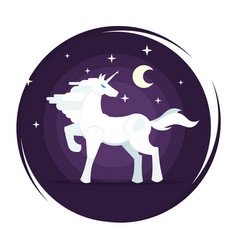 unicorn icon in flat style with star and moon vector image