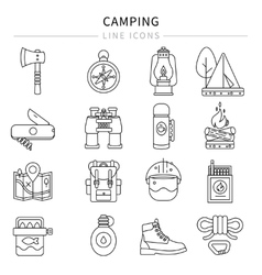 Camping Line Icon Set vector image vector image