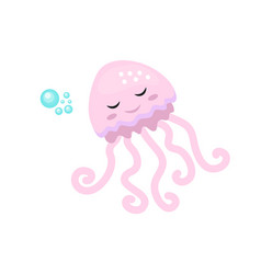 cute jellyfish icon flat cartoon style isolated vector image vector image