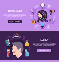 hairdresser banner set vector image