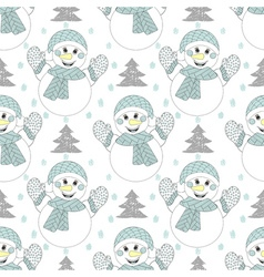 happy snowman seamless pattern Hand drawn modern vector image vector image