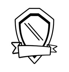 Shield guarantee emblem ribbon outline empty vector