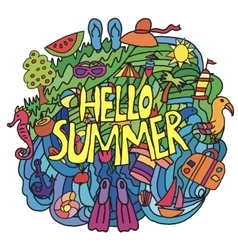 Summer items in cartoon style with hello summer vector image