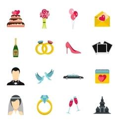 Wedding icons set flat style vector image vector image