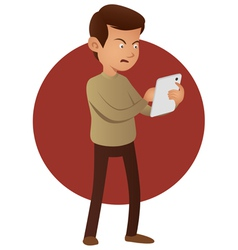Angry man using tablet device vector image vector image