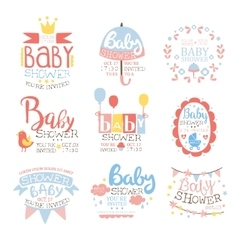 Baby Shower Invitation Template In Pastel Colors vector image