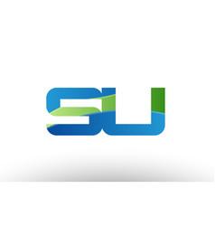blue green su s u alphabet letter logo vector image vector image