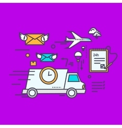 Fast Delivery Concept Icon Flat Design vector image vector image