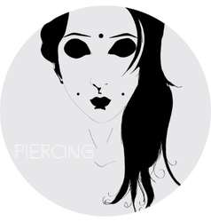 Girl with piercings vector image vector image