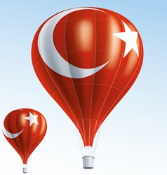 Hot balloons painted as turkish flag vector