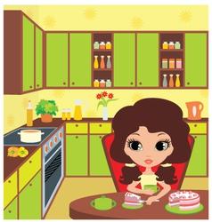 pretty girl eats a pie vector image vector image