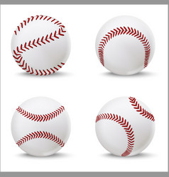 realistic detailed 3d baseball leather ball set vector image
