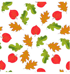 seamless pattern with hand drawn leaves on white vector image vector image