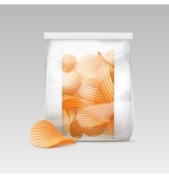 White sealed plastic bag with potato crispy chips vector