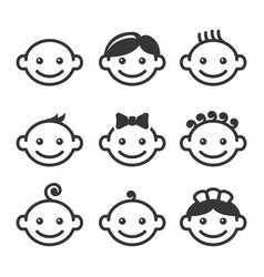 baby face icons set vector image