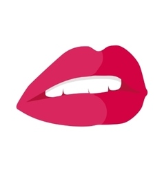 Parted Lips Painted with Red Lipstick White Teeth vector image