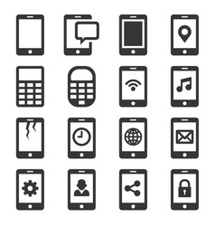 phone and communication icon set vector image