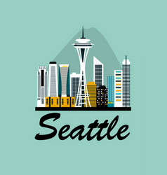 seattle city travel background vector image