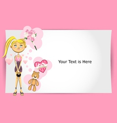 valentine girl greeting card vector image