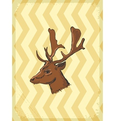 Vintage grunge background with deer vector