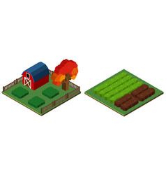 3d design for farmyard and barn vector