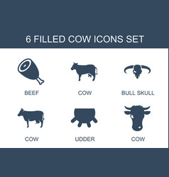 6 cow icons vector