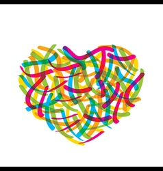 Abstract valentine heart design by colorful brush vector