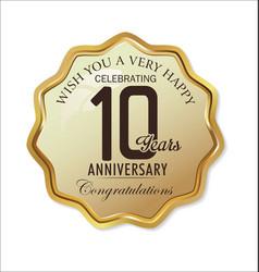Anniversary retro label 10 years vector