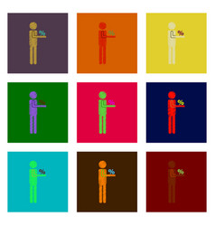 Assembly of flat shading style icon stick figure vector