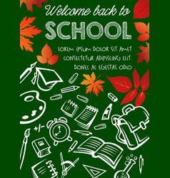 Back to school poster on chalkboard vector