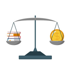 Balance with money and books vector
