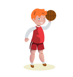 Basketball player in uniform with ball vector