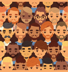 bearded men faces hipsters head with different vector image