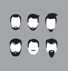 bearded men faces icon vector image