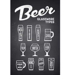 beer glassware types poster or banner vector image
