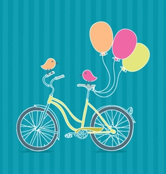 Bicycle balloons and birds vector image