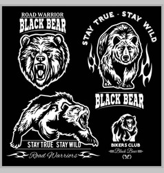 black bear for logo sport team emblem design vector image