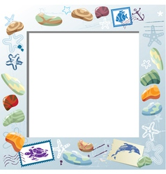 Blank Photo Frame with Colorful Sea Stones Starfi vector image