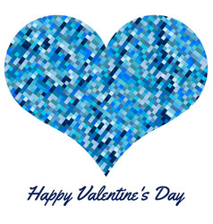 blue heart made of pixels vector image