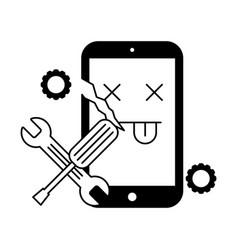 Broken cellphone error support tools vector