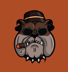 Bulldog mafia smoking vector