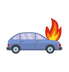 burning car icon flat style vector image