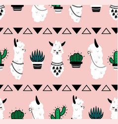 cartoon lama pattern seamless texture cute vector image